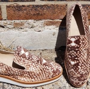 Modern Free People velour snake print loafers